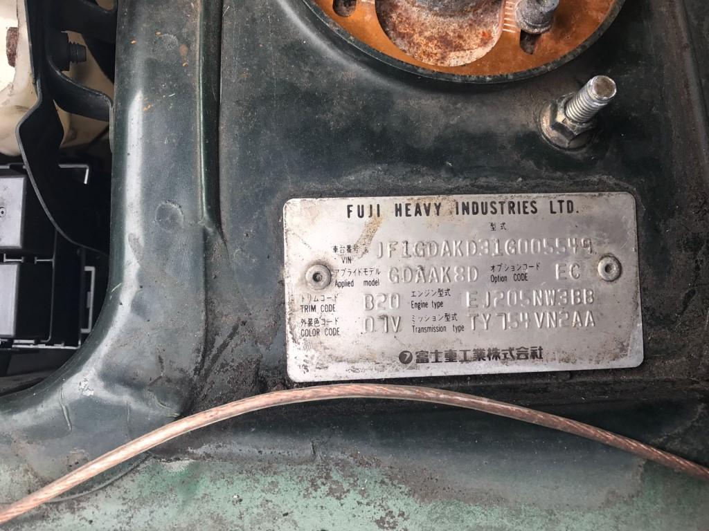 ref 20 subaru impreza wrx 2.0 turbo petrol  manual 2001